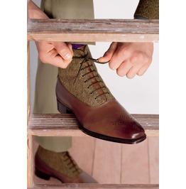 Handmade Men Leather Boots, Tweed Fabric Boots For Men, Men Formal Boot