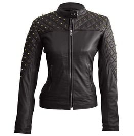 Women Black Shoulder Quilted With Gold Studs Studded Genuine Leather Jacket