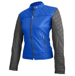 Women Blue With Black Sleeves Shoulder Quilted Genuine Leather Jacket 99cdd461b8