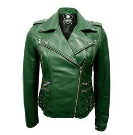 Women Green Brando Premium Genuine Leather Jacket