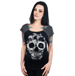 Women's Floral Skull Wide Neck Tee