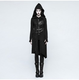 Punk Rave Women Military Hooded Asymmetric Knitted Coat With Belt Y792
