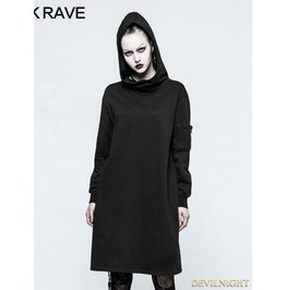 Black Gothic Punk Imp Printing Sweater For Women Opy 213