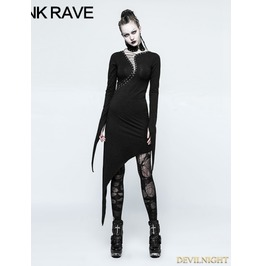 Black Gothic Dark Knitting Cotton Dress Q 335