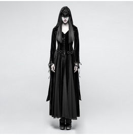 Punk Rave Women's Gothic Priestess Hooded Maxi Dress Y797