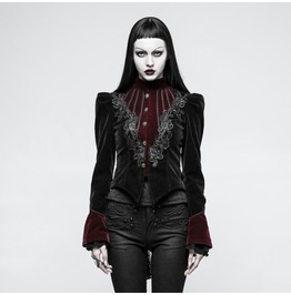 Punk Rave Women's Gothic Stand Collar Forked Tail Velvet Jackets Y769