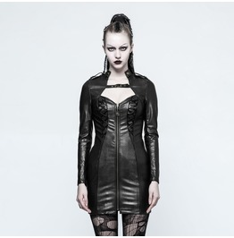 Punk Rave Women's Punk Faux Leather Slim Fitted Long Jackets Q337
