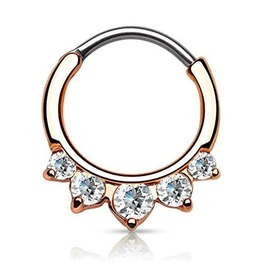 Rose Gold 5 Gems Septum Clicker