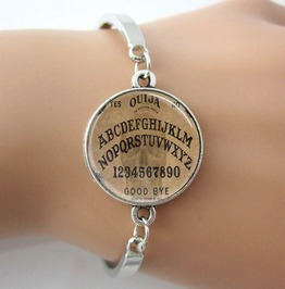 Gothic Ouija Spirit Board Glass Dome Bangle Bracelet