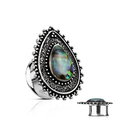 Abalone Centered Tear Drop Flared Tunnel Plugs
