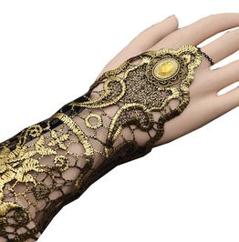 Steampunk Goth Gold Lace Floral Finger Bracelet Party Costume Jewelry
