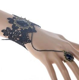 Black Stone Vintage Lace Slave Hand Chain Goth Charm Bracelet