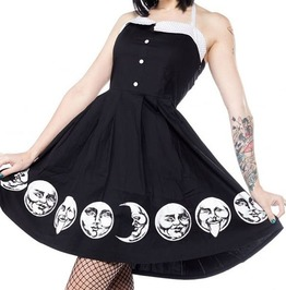 Goth Punk Faces Of The Moon Halter Sleeveless A Line Vintage Backless Dress