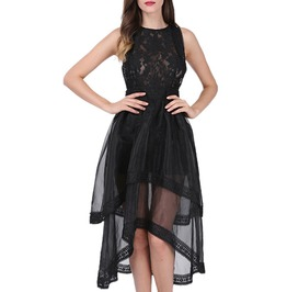 Gothic Black Hollow Out Sleeveless O Neck Asymmetrical Lace Organza Dress