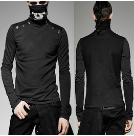 Men Heavy Punk High Necked Printing T Shirt For Men Steampunk Vintage Mask