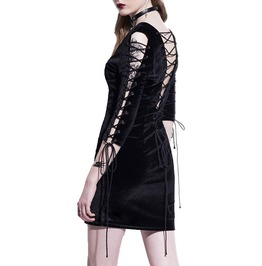 Black Hollow Lace Up V Neck Front Back Straight Gothic Dress