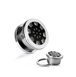 Ship Wheel On Mirror Polished Screw Fit Plugs