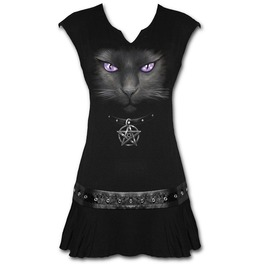 Stud Waist Mini Dress Black