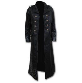 Gothic Trench Coat Pu Leather Corset Back