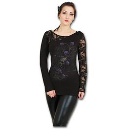 89d8c516b Entwined Skull Black Lace One Shoulder Top