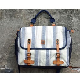 Navy Style Stripe Print Vintage Handbag Leather Washed