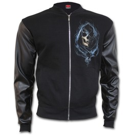 Ghost Reaper Bomber Jacket With Pu Leather Sleeves