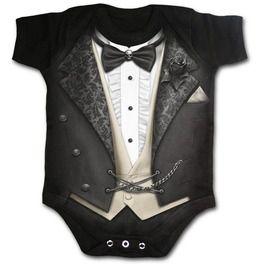 Tuxed Black Baby Sleep Suit