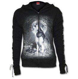 White Wolf Laceup Full Zip Glitter Hoody Black