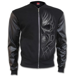 Death Rage Bomber Jacket With Pu Leather Sleeves