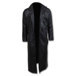 Just Tribal Gothic Trench Coat Pu Leather With Full Zip