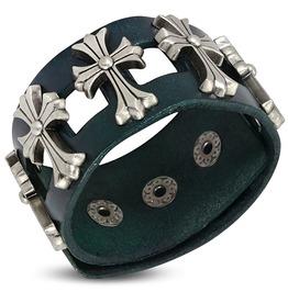 Green Leather Fleur De Lis Flower Cross Stud Snap Wristband Bracelet