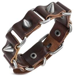 Genuine Brown Leather Cone Spike Stud Belt Buckle Biker Bracelet