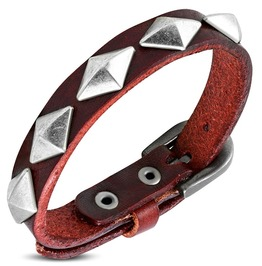 Genuine Red Leather Diamond Shaped Stud Belt Buckle Bracelet