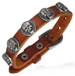 Genuine Light Brown Leather Skull Circle Stud Belt Buckle Biker Bracelet