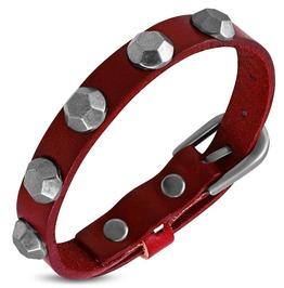Genuine Red Leather Hexagon Stud Belt Buckle Bracelet
