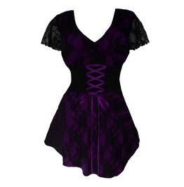 Women's Royal Purple Lace Sweetheart Top