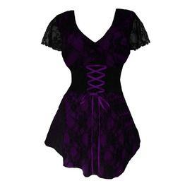 Women's Royal Purple Lace Sweetheart Top