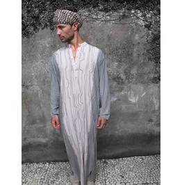 Men's Kaftan, Men's Grey Caftan Shirt, Men Buttoned Up Long Sleeves Kaftan