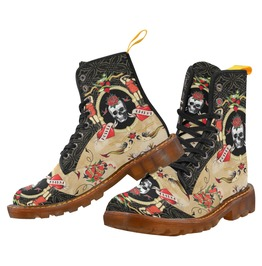 Funky Vintage Tattoo Skull And Hearts Dr Martens Style Canvas Combat Boots