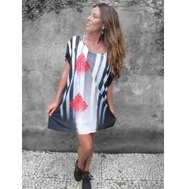 Black And White Loose Fit Dress, Boho Oversize Summer Dress, Women's Tunic