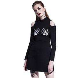 Skull Skeleton Hands Print Black Hollow Shoulders Slim Gothic Mini Dress