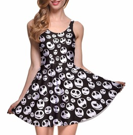 3 D Prints Skulls Nightmare Before Christmas Sleeveless Skater Pleated Dress