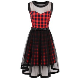 Gothic Sleeveless Boat Neck Mesh Checkered Dress