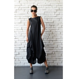 Black Maxi Dress/Extravagant Asymmetric Casual Dress/Oversize Long Top
