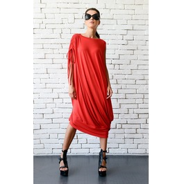 Red Loose Kaftan/Plus Size Maxi Dress/Asymmetric Tunic Top/Red Oversize Top