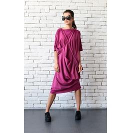 Pink Asymmetric Tunic Dress/Loose Casual Dress/Fuchsia Maxi Dress/Pink Top