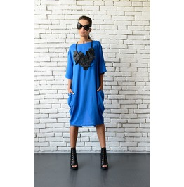 Blue Maxi Dress/Short Casual Dress/Plus Size Tunic/Loose Blue Tunic Dress