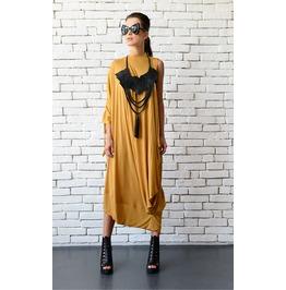 Mustard Kaftan/Plus Size Long Dress/Oversize Yellow Tunic/Loose Long Top