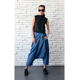 Denim Loose Pants/Oversize Maxi Pants/Blue Drop Crotch Pants/Casual Pants