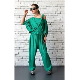 Green Loose Jumpsuit/Extravagant Wide Leg Pants/Asymmetric Harem Pants